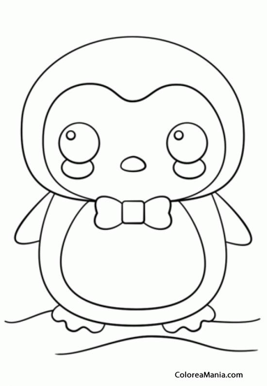 Colorear Pingino Kawaii Animales Polares dibujo para colorear
