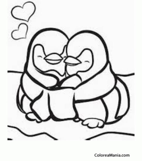 Colorear Dos Pingüinos enamorados (Animales Polares), dibujo para ...