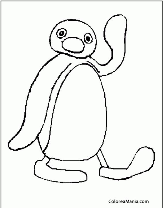 Colorear Pingu te saluda (Animales Polares), dibujo para colorear gratis