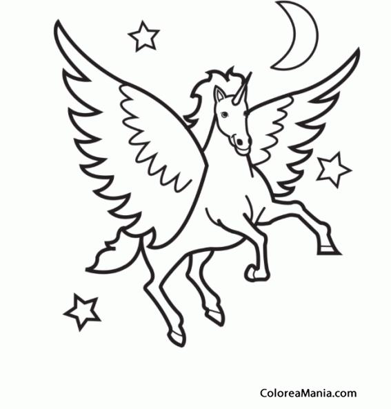 Colorear Pegaso volando hacia las estrellas (Animales Fantásticos ...