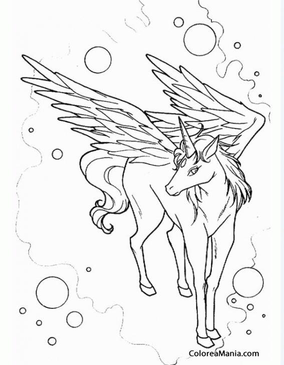 Colorear Pegaso.Unicornio entre burbujas (Animales Fantásticos ...