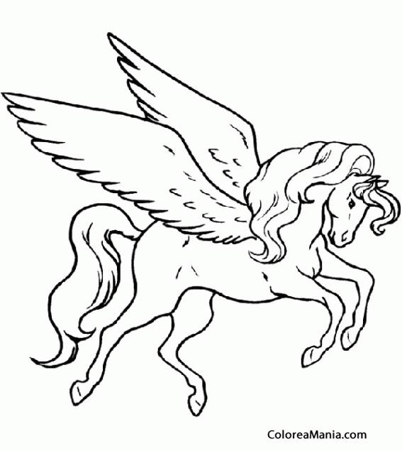 Colorear Pegaso. Pegasus. Pègase (Animales Fantásticos), dibujo para ...