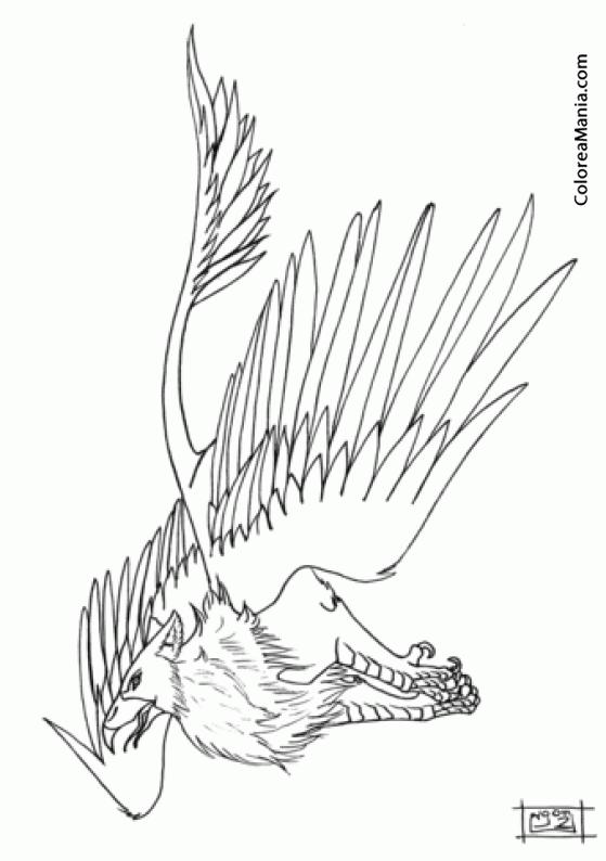 Colorear grifo morth animales fantsticos dibujo para for Grifo dibujo