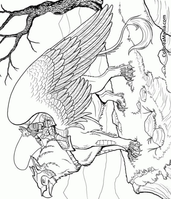 Colorear grifo con jinete animales fantsticos dibujo for Grifo dibujo