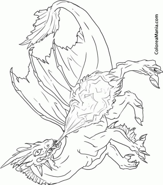 Colorear Dragón escupiendo fuego (Animales Fantásticos), dibujo para ...
