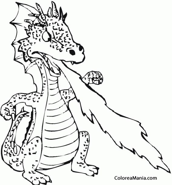 Colorear Dragón enfadado lanzando fuego (Animales Fantásticos ...