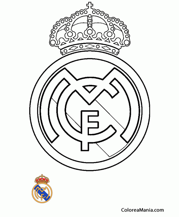 Colorear Club de Fútbol Real Madrid (Escudos equipos de Fútbol ...