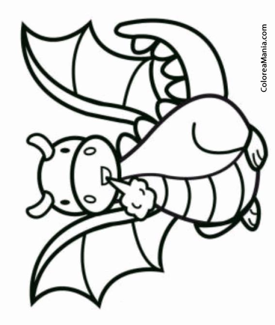 Colorear Dragn infantil (Animales Fantsticos), dibujo para ...
