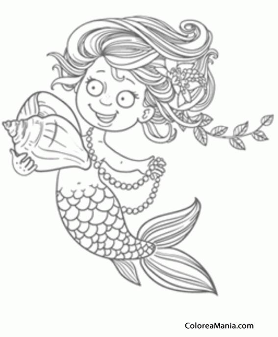 Colorear Sirena De Ojos Redondos Animales Fantásticos Dibujo Para