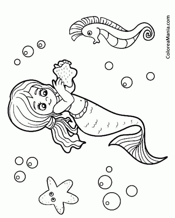 Colorear Sirena Con Caballito De Mar Animales Fantásticos