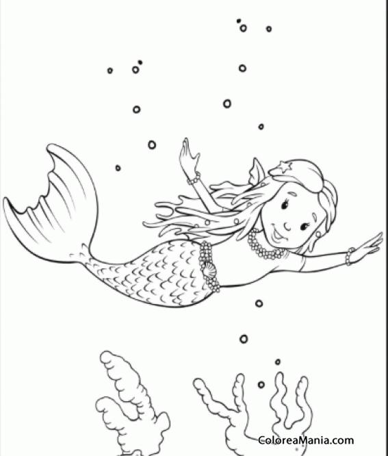 Colorear Sirenita Nadando Feliz Animales Fantásticos