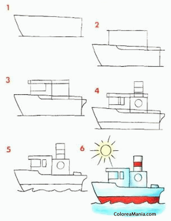 Colorear Dibujar Barco de pesca (Medios de transporte), dibujo para ...