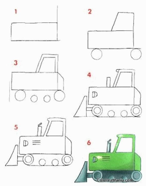 Colorear Dibujar bulldozer (Medios de transporte), dibujo para ...