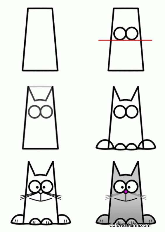 Colorear Dibujar Gato Con Un Rectángulo Como Dibujar Gatos