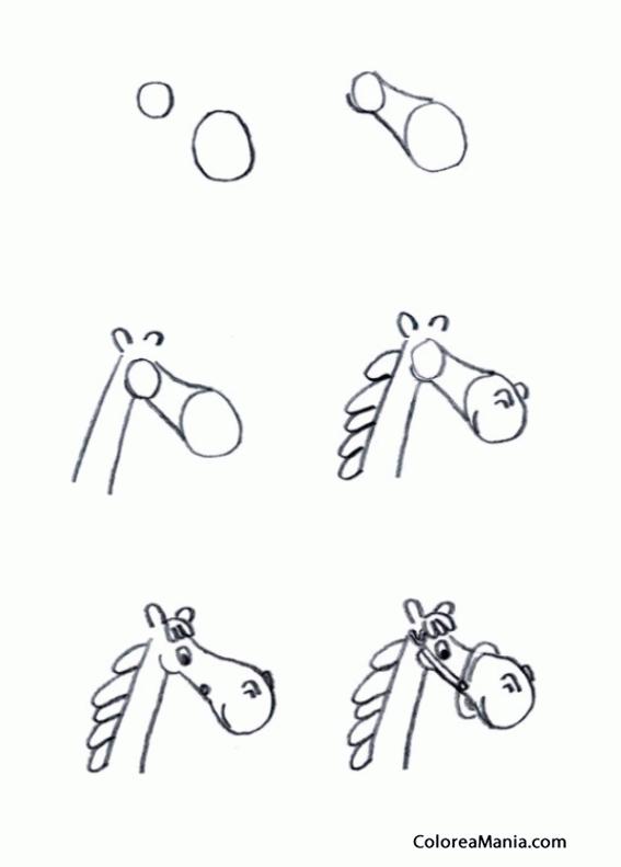 Colorear DIbujar cabeza de caballo, comic (Como dibujar un caballo ...
