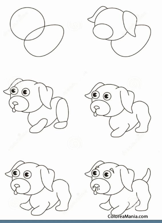 Colorear Dibujar cachorro de perro juquetón (Como dibujar un perro ...