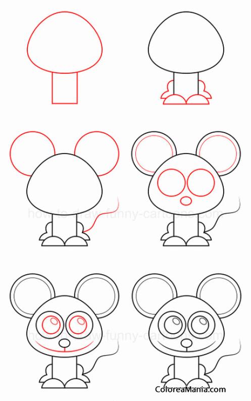 colorear dibujar ratón sentado como dibujar un ratón dibujo para