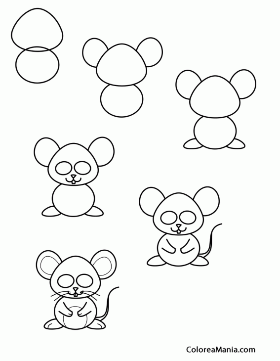 colorear dibujar ratoncito cómic como dibujar un ratón dibujo