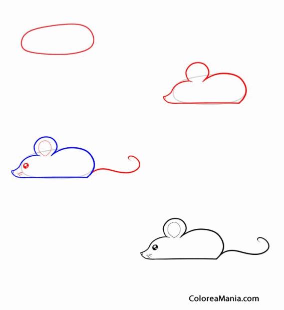 colorear como dibujar el perfil de un ratón como dibujar un ratón