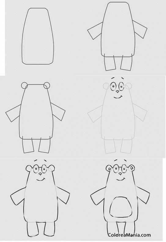 Colorear Dibujar Un Oso Con Rectángulos Como Dibujar Un Oso
