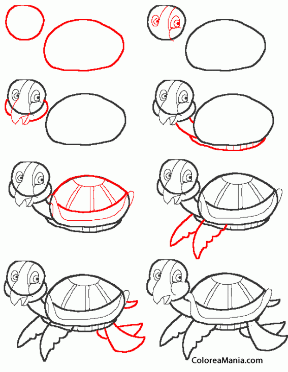 Colorear How to draw a turtle. Dibujar tortuga