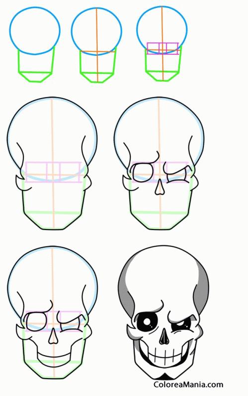 Colorear Como Dibujar Cráneo Calavera Cómo Dibujar Personajes