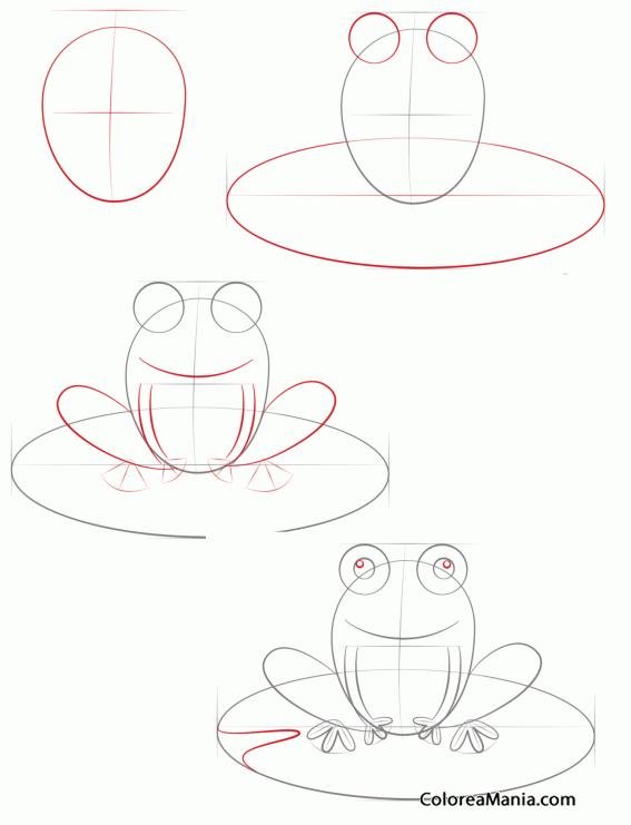 Colorear Dibujar rana sobre hoja (Como dibujar una rana), dibujo ...