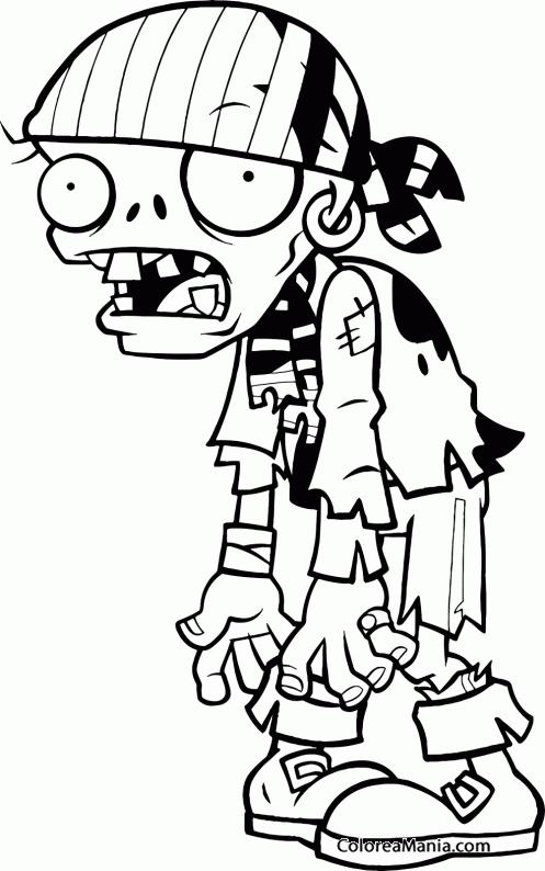 Colorear Pirata Zombie 2 Plants Vs Zombies Dibujo Para