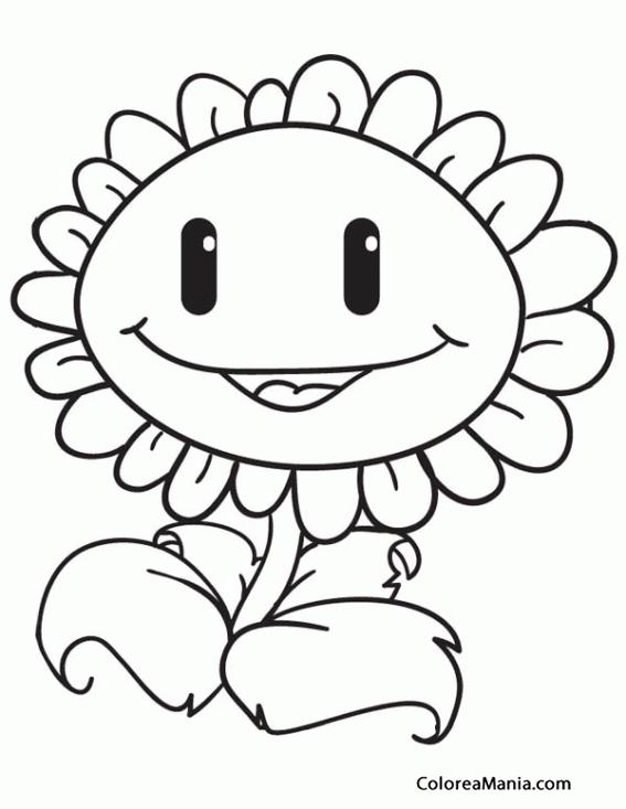 Colorear Girasol Plants Vs Zombies Dibujo Para Colorear